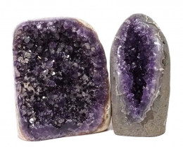 2.54kg Amethyst Polished Crystal Geode Specimen Set 2 Pieces DN139
