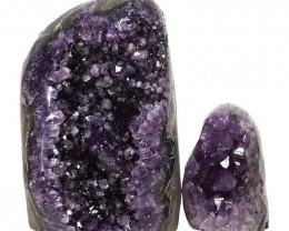 2.48kg Amethyst Polished Crystal Geode Specimen Set 2 Pieces DN140