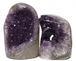 2.37kg Amethyst Polished Crystal Geode Specimen Set 2 Pieces DN142