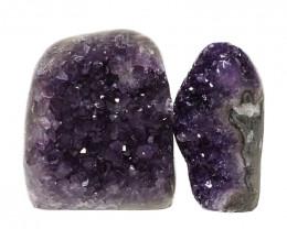 1.96kg Amethyst Polished Crystal Geode Specimen Set 2 Pieces DN145