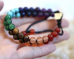 Chakra 7 stone Wellness double weave  Bracelet AHA 621