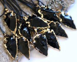 Wholesale 10 pcs Large Obsidian Arrow  Pendants G/P  AHA 740
