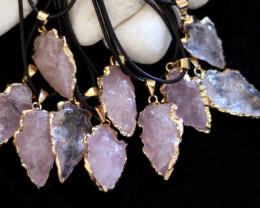 Wholesale 10 pcs Large Rose Quartz arrow Pendants G/P  AHA 755