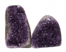 1.92kg Amethyst Polished Crystal Geode Specimen Set 2 Pieces DN147