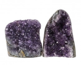 1.98kg Amethyst Polished Crystal Geode Specimen Set 2 Pieces DN148