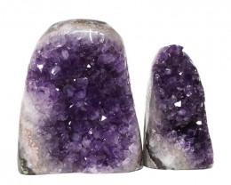1.90kg Amethyst Polished Crystal Geode Specimen Set 2 Pieces DN149