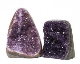 2.60kg Amethyst Polished Crystal Geode Specimen Set 2 Pieces DN150