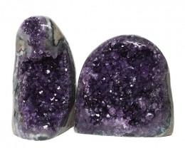 2.63kg Amethyst Polished Crystal Geode Specimen Set 2 Pieces DN157