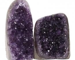 2.67kg Amethyst Polished Crystal Geode Specimen Set 2 Pieces DN158