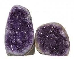 2.32kg Amethyst Polished Crystal Geode Specimen Set 2 Pieces DN160