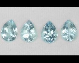 Aquamarine 5.72 cts 4 PCS Unheated Sky Blue Color Natural Gemstone