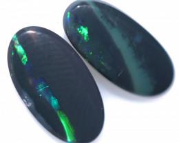 1.85 Cts   Pair Lightning Ridge Black Opal Set CCC 3600