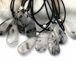Wholesale 10 pcs Tear Drop Tourmaline Rock Crystal Pendants G/P  AHA 792