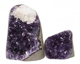 2.92kg Amethyst Polished Crystal Geode Specimen Set 2 Pieces DN173
