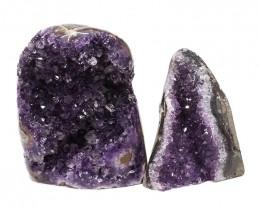 2.84kg Amethyst Polished Crystal Geode Specimen Set 2 Pieces DN176