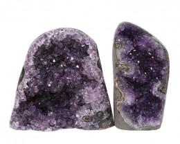 2.52kg Amethyst Polished Crystal Geode Specimen Set 2 Pieces DN177