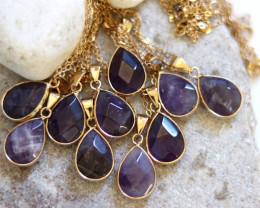 Wholesale 10 pcs Pear Shape Faceted Pendants Natural Amethyst G/P  AHA 924