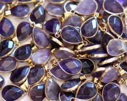 Wholesale 10 pcs Pear Shape Faceted Pendants Natural Amethyst G/P  AHA 925