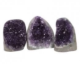 2.79kg Amethyst Polished Crystal Geode Specimen Set 3 Pieces DN180