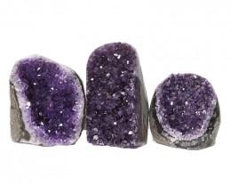 2.41kg Amethyst Polished Crystal Geode Specimen Set 3 Pieces DN181