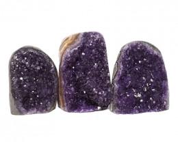 2.39kg Amethyst Polished Crystal Geode Specimen Set 3 Pieces DN182