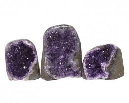 2.29kg Amethyst Polished Crystal Geode Specimen Set 3 Pieces DN183