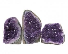 2.26kg Amethyst Polished Crystal Geode Specimen Set 3 Pieces DN184