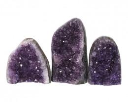 2.29kg Amethyst Polished Crystal Geode Specimen Set 3 Pieces DN185