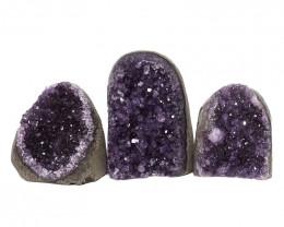 2.42kg Amethyst Polished Crystal Geode Specimen Set 3 Pieces DN186