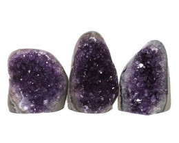 2.68kg Amethyst Polished Crystal Geode Specimen Set 3 Pieces DN187