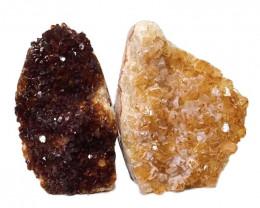1.57kg Citrine Polished Crystal Geode Specimen Set 2 Pieces DN188