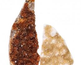 1.85kg Citrine Polished Crystal Geode Specimen Set 2 Pieces DN192