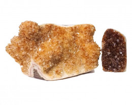 3.21kg Citrine Polished Crystal Geode Specimen Set 2 Pieces DN193