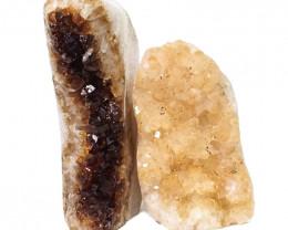 2.23kg Citrine Polished Crystal Geode Specimen Set 2 Pieces DN195