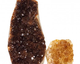 2.41kg Citrine Polished Crystal Geode Specimen Set 2 Pieces DN202