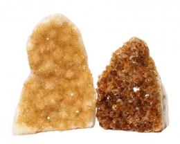1.66kg Citrine Polished Crystal Geode Specimen Set 2 Pieces DN203