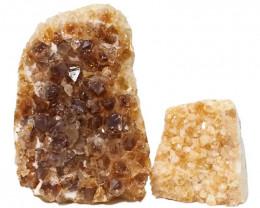 2.68kg Citrine Polished Crystal Geode Specimen Set 2 Pieces DN204