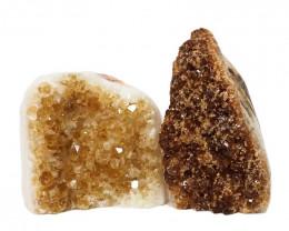 1.86kg Citrine Polished Crystal Geode Specimen Set 2 Pieces DN205