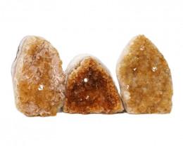 1.40kg Citrine Polished Crystal Geode Specimen Set 3 Pieces DN206