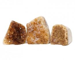 1.53kg Citrine Polished Crystal Geode Specimen Set 3 Pieces DN207