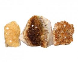 1.66kg Citrine Polished Crystal Geode Specimen Set 3 Pieces DN209