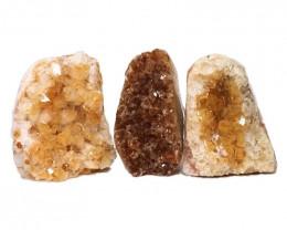 1.60kg Citrine Polished Crystal Geode Specimen Set 3 Pieces DN210