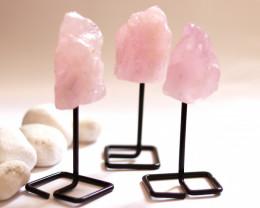 Three Rose Quartz mineral stands  AHA 1031