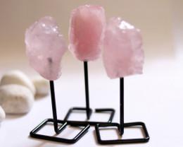 Three Rose Quartz mineral stands  AHA 1034