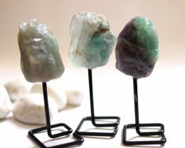 Three Fluorite mineral stands  AHA 1038