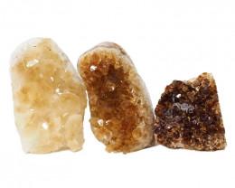 1.74kg Citrine Polished Crystal Geode Specimen Set 3 Pieces DN211