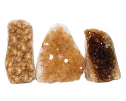 1.76kg Citrine Polished Crystal Geode Specimen Set 3 Pieces DN212