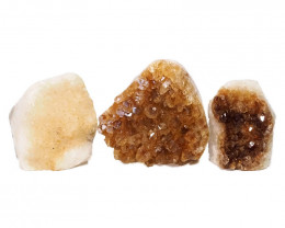 2.04kg Citrine Polished Crystal Geode Specimen Set 3 Pieces DN213