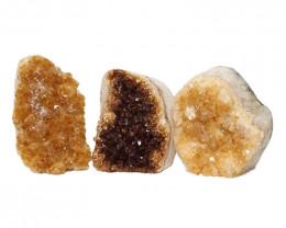 1.56kg Citrine Polished Crystal Geode Specimen Set 3 Pieces DN214