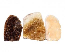 1.43kg Citrine Polished Crystal Geode Specimen Set 3 Pieces DN215